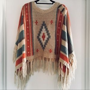 One size striped poncho sweater with fringe